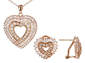 White Cubic Zirconia 18K Rose Gold Over Silver Heart Pendant With Chain & Earrings Set
