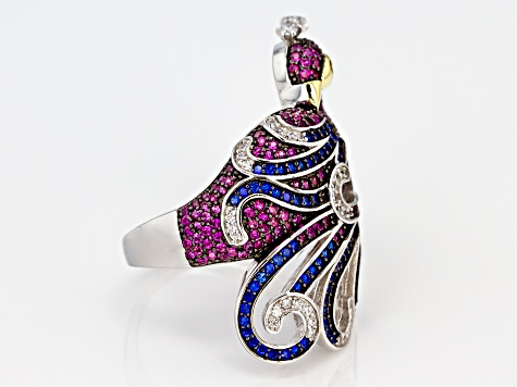 White, Black, Red, and Blue Cubic Zirconia Rhodium Over Silver Peacock Ring