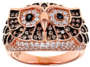 Brown, Black and White Cubic Zirconia 18k Rose Gold Over Sterling Silver Ring 1.47ctw