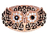 Brown, Black and White Cubic Zirconia 18k Rose Gold Over Sterling Silver Owl Ring 1.47ctw