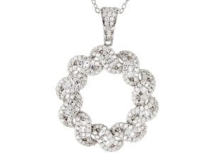 White Cubic Zirconia Rhodium Over Sterling Silver Cluster Pendant With Chain 2.97ctw