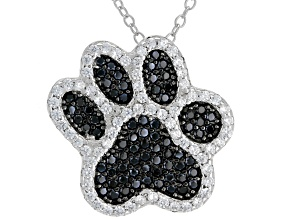 Black & White Cubic Zirconia Rhodium Over Sterling Silver Paw Print Pendant With Chain 1.28ctw
