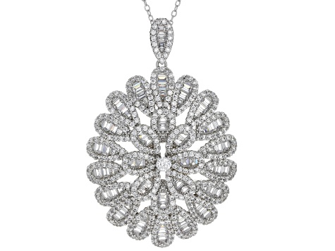 White Cubic Zirconia Rhodium Over Sterling Silver Cluster Pendant With Chain 7.56ctw