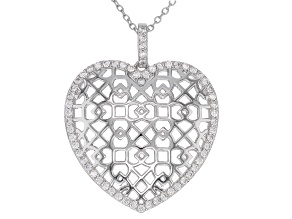White Cubic Zirconia Rhodium Over Sterling Silver Heart Pendant With Chain 0.79ctw.