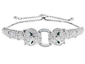 Emerald Simulant & White Cubic Zirconia Rhodium Over Silver Adjustable Panther Bracelet