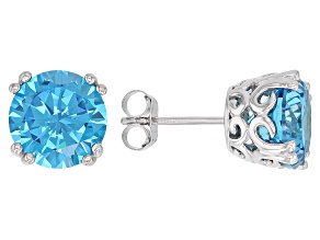 Blue Cubic Zirconia Rhodium Over Sterling Silver Stud Earrings 8.89CTW