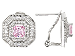Pink & White Cubic Zirconia Rhodium Over Sterling Silver Center Design Earrings 4.70ctw