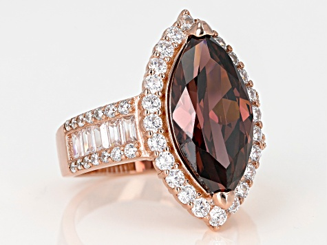 Blush & White Cubic Zirconia 18K Rose Gold Over Sterling Silver Center Design Ring 12.29ctw