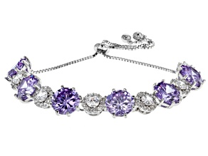 Lavender & White Cubic Zirconia Rhodium Over Sterling Silver Bolo Bracelet 30.43ctw