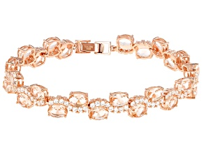 Morganite Simulant & White Cubic Zirconia 18K Rose Gold Over Sterling Silver Bracelet 32.09ctw