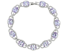 Lavender & White Cubic Zirconia Rhodium Over Sterling Silver Center Design Bracelet 33.39ctw