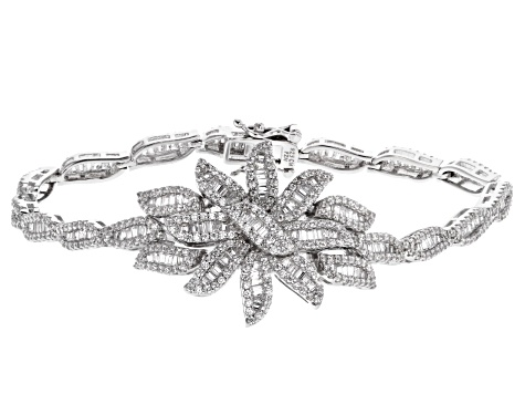 White Cubic Zirconia Rhodium Over Sterling Silver Statement Bracelet 7.75ctw