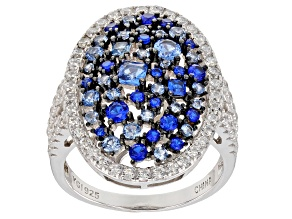 Lab Created Blue Spinel & White Cubic Zirconia Rhodium Over Silver Cluster Ring 2.99ctw