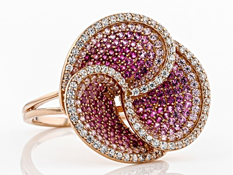 Lab Created Pink Sapphire, Pink, & White Cubic Zirconia 18K Rose Gold Over Silver Cluster Ring