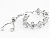 White Cubic Zirconia Rhodium Over Sterling Silver Bolo Bracelet 4.00ctw