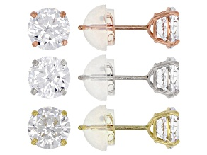 White Cubic Zirconia 10K Yellow, White, & Rose Gold Stud Earrings Set Of 3 4.51ctw