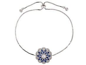 Synthetic Blue Spinel & White Cubic Zirconia Rhodium Over Sterling Silver Bolo Bracelet