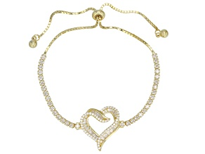 White Cubic Zirconia 18K Yellow Gold Over Sterling Silver Bolo Heart Bracelet 2.54ctw