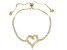 White Cubic Zirconia 18K Yellow Gold Over Sterling Silver Bolo Bracelet 2.54ctw