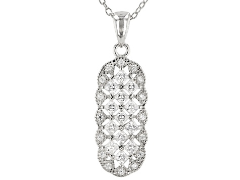 White Cubic Zirconia Rhodium Over Sterling Silver Cluster Pendant With Chain 1.42ctw