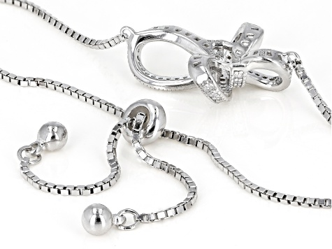 White Cubic Zirconia Rhodium Over Sterling Silver Bolo Cross Bracelet 0.78ctw