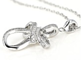 White Cubic Zirconia Rhodium Over Sterling Silver Cross Pendant With Chain