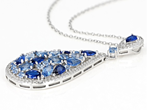 Lab Created Blue Spinel & White Cubic Zirconia Rhodium Over Silver Pendant With Chain 16.14ctw