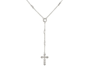 White Cubic Zirconia Rhodium Over Sterling Silver Cross Necklace 2.79ctw