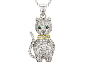 Green Nanocrystal & White Cubic Zirconia Rhodium Over Sterling Silver Cat Pendant With Chain