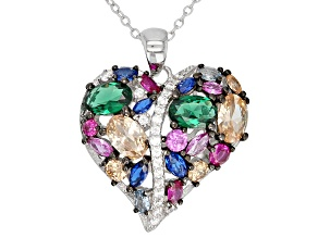 Emerald Simulant, Synthetic Blue Spinel, & Multicolor Cubic Zirconia Rhodium Over Silver Pendant