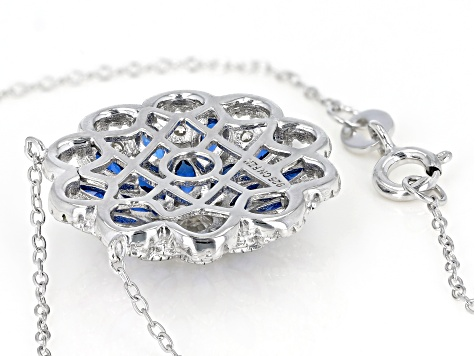 Synthetic Blue Spinel & White Cubic Zirconia Rhodium Over Sterling Silver Center Design Necklace
