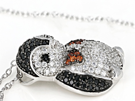 Synthetic Black Spinel, Red, & White Cubic Zirconia Rhodium Over Silver Penguin Pendant With Chain
