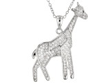 Synthetic Black Spinel And White Cubic Zirconia Rhodium Over Silver Giraffe Pendant With Chain