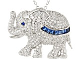Lab Created Blue Spinel & White Cubic Zirconia Rhodium Over Silver Elephant Pendant With Chain