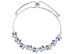 Lab Created Blue Spinel & Multicolor Cubic Zirconia Rhodium Over Silver Adjustable Bracelet 4.55ctw