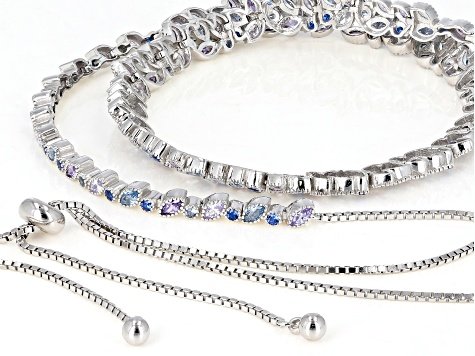 Lab Created Blue Spinel & Multicolor Cubic Zirconia Rhodium Over Silver Bolo Necklace 2.47ctw