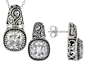 White Cubic Zirconia Rhodium Over Sterling Silver Center Design Pendant With Chain/Earrings