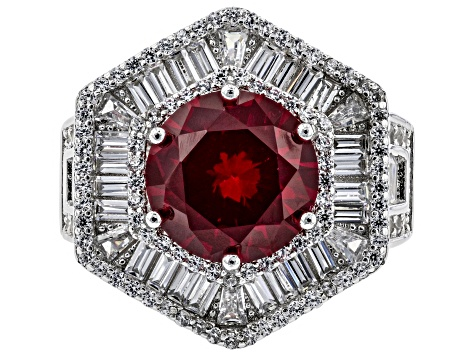 Synthetic Red Corundum & White Cubic Zirconia Rhodium Over Sterling Silver Ring 13.10ctw
