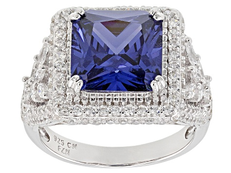 Blue & White Cubic Zirconia Rhodium Over Sterling Silver Center Design Ring 10.44ctw