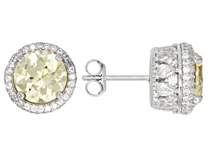 Yellow & White Cubic Zirconia Rhodium Over Sterling Silver Center Design Earrings 12.24ctw