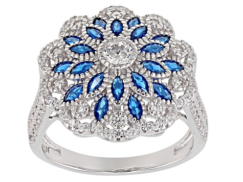 Synthetic Blue Spinel & White Cubic Zirconia Rhodium Over Sterling Silver Ring