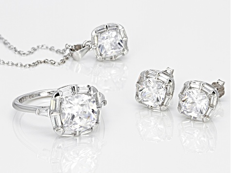 White Cubic Zirconia Rhodium Over Sterling Silver Center Design Jewelry Set 10.39ctw