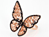 Mocha And Champagne Cubic Zirconia 18K Rose Gold Over Sterling Silver Butterfly Ring 4.42ctw