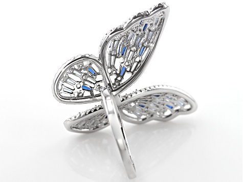 Lab Created Blue Spinel & White Cubic Zirconia Rhodium Over Sterling Silver Butterfly Ring 4.42ctw