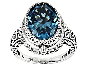 Blue Cubic Zirconia Rhodium Over Sterling Silver Center Design Ring 9.38ctw