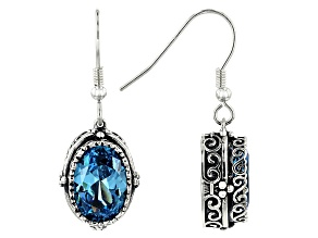 Blue Cubic Zirconia Rhodium Over Sterling Silver Center Design Earrings 9.67ctw