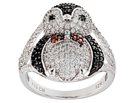 Synthetic Black Spinel, Orange , & White Cubic Zirconia Rhodium Over Silver Penguin Ring 1.92ctw
