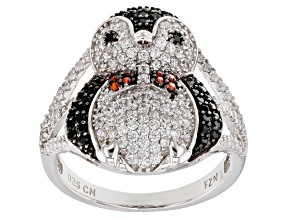 Synthetic Black Spinel, Red, & White Cubic Zirconia Rhodium Over Silver Penguin Ring 1.92ctw