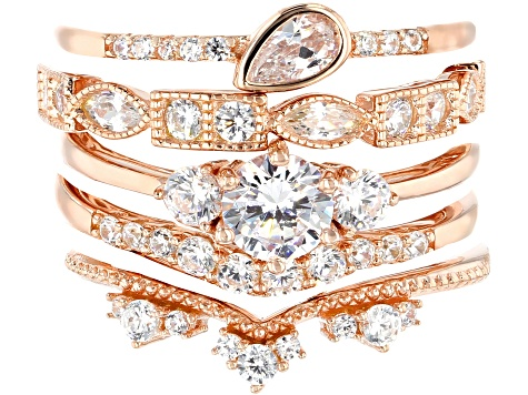 White Cubic Zirconia 18K Rose Gold Over Sterling Silver Rings Set Of 5 3.88ctw