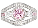 Pink & White Cubic Zirconia Rhodium Over Sterling Silver Center Design Ring 4.17ctw